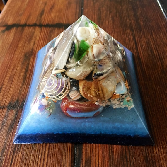 XLG Ocean Orgonite® Pyramid- Empath Protection Orgone Generator Pyramid- Grounding- Negative Energy Protection- Cleansing Negative Energy