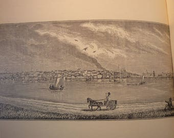 Nantucket Massachusetts Town Engravings - New England Antiquarian Society - framable gift  history 1800 historic scene whaling town island