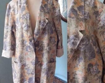 Vtg faded 1980's oversize jacket blazer rose revival floral long