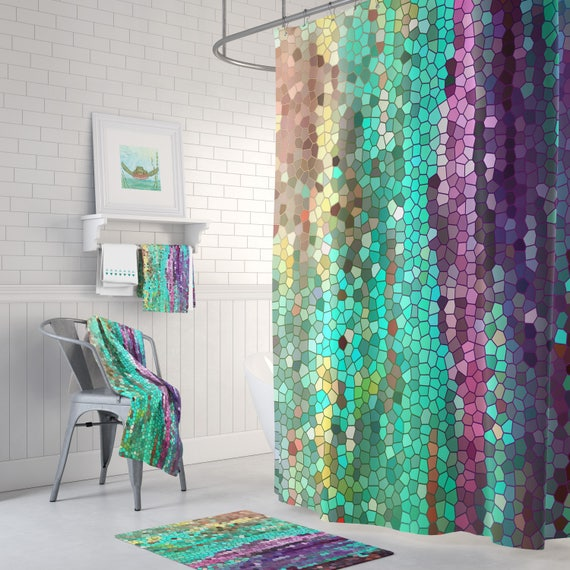 Teal And Purple Mosaic Shower Curtain Set Morning Has Broken