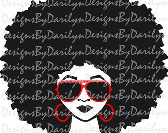 Afro lady with shades SVG/DXF/PDF