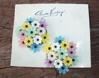 Vintage Precious Anita Eshay New on Card Clip On Earrings Mid Century 50s Era