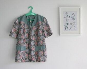 Vintage 1970s Women floral jacket, Buttoned Jacket, Short sleeved Blazer, Size 44EUR 14US, oversized blazer \ floral jacket \ pastel pull on