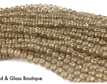 Czech Glass Melon Bead, 5mm Round, 50 bead strand, Halo Linen (gold luster)