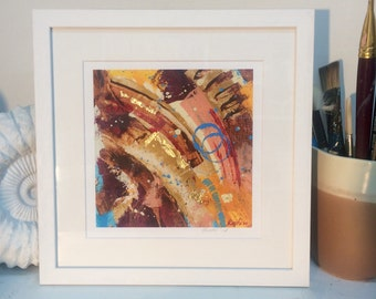 Giclee print with golden leaf, wooden frame, glass