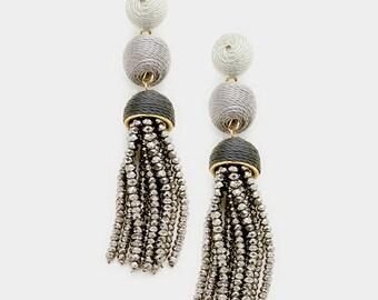 Thread Ball Hematite Tassel Drop Earrings