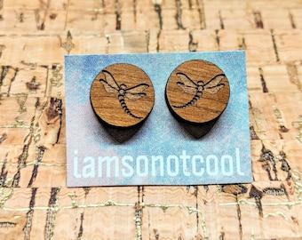 Wood Dragonfly Earrings - Wood Stud Earrings, Laser-Cut Wooden Dragonfly Studs, Walnut Wood Earrings, Hypoallergenic, Nickel-Free
