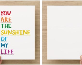 Postcard - You are the sunshine of my life! -A5 format to send letters and letters, Stevie Wonder song quote
