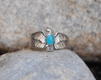 Eagle turquoise ring and silver, vintage eagle ring, eagle rings, eagles ring, vintage rings, turquosie jewelry, eagle jewelry, eagles