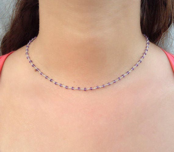 Amethyst necklace / amethyst rosary / 925 sterling silver / bridal jewelry / bridesmaid gift / purple necklace / best friend gift