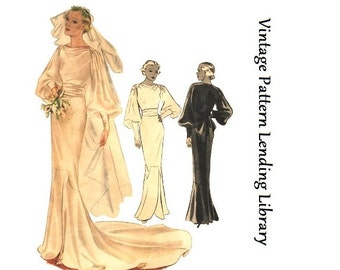 1935 Ladies Wedding or Evening Gown - Reproduction Sewing Pattern #T8331