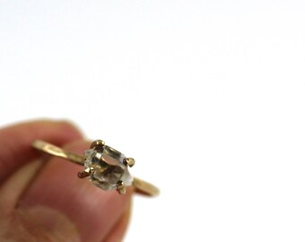 14k gold fill Herkimer Diamond Ring / 14 Gold double terminated quartz ring / stacking ring/ april birthstone / ring / shop sand and silver