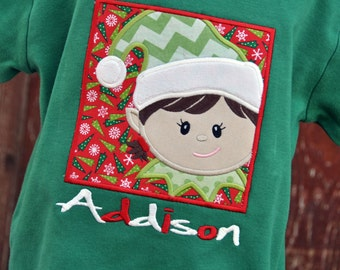 Personalized Girl or Boy Elf Christmas Kids Shirt