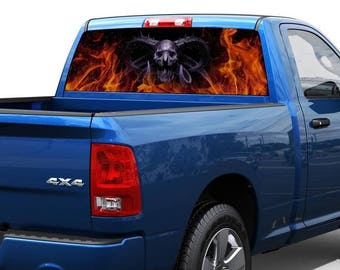 Death Demon in flame Rear Window Decal Sticker Pickup Truck SUV Car