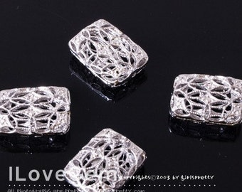 NP-857 Rhodium-plated, rectangle BEAD, 12X16mm, 2pcs