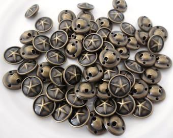 """Buttons Antique Bronze Star Metal Shank 5/8"""" Set 16mm  15 Pieces"""
