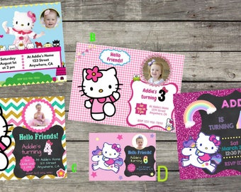 Hello kitty birthday invitation etsy personalized hello kitty birthday invitation digital file only diy 5x7 filmwisefo Image collections