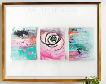 "Collage art set, abstract collage, small artworks, original wall art, gallery wall of 3,  5x7"" each, aqua, mixed media collage"