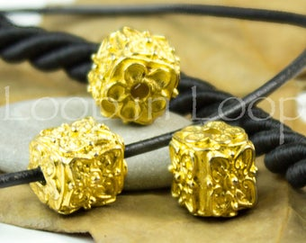 25%OFF Ornamental Square 24K Gold Plated Unique granulated Cube Beads Mykonos Greek Hand formed casting Beads 11mm Spacer Bead 1pc