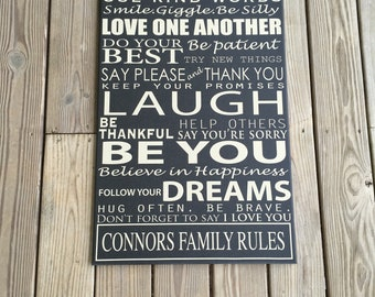 Customized Family Rules, House Rules, Personalized Canvas word art, Custom Word Art, Create your own
