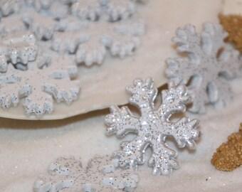White Snowflake Glittered Bead Frozen Winter 30 mm 10
