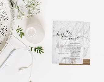 Marble Wedding/Bridal Shower Invitation - wood accent