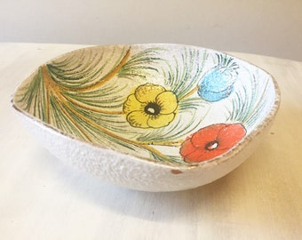 Hand painted bowl, vintage bowl, vintage hand painted, vintage Italian pottery, hand painted china, porcelain bowl, retro decorative bowl,