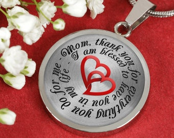 Mom, Thank You For Everything You Do For Me - Personalized Necklace - The Perfect Mother's Day Gift!