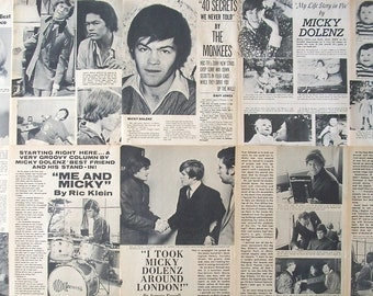 MICKY DOLENZ ~ The Monkees, Circus Boy, Last Train To Clarksville. Daydream Believer ~ Color and B&W Articles from 1967 - Batch 1