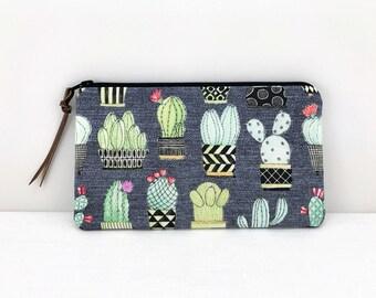 Cactus Pencil Pouch - Pencil Case - Cactus Zipper Pouch - Gray Zip Pouch - Accessories Pouch - Zipper Bag - Cactus Gifts