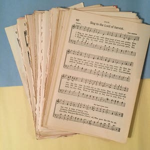 Antique Vintage Hymnal Sheet Music Loose Pages, Mixed Lot 25 or 50 pages, Ephemera