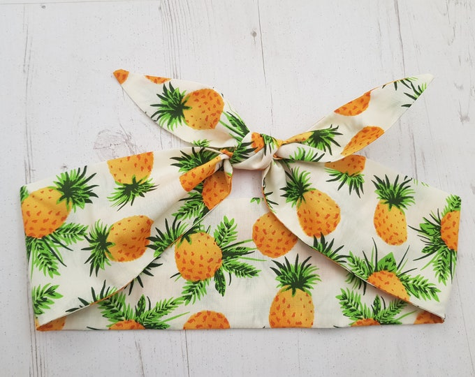 Tropical Hawaiian Pineapple Head Scarf - Wired or Not - Fruit Summer Paradise Beach Holiday Vacation Island