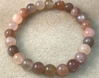 Moonstone Bracelet, Stretch Bracelet, 8mm Bracelet, Beaded Bracelet, Bead Bracelet, white moonstone, black moonstone, peach moonstone