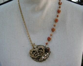 Vintage Statement Necklace, Vintage Brooch, Vintage Earrings, Repurposed Upcycled, Reclaimed, VintageAssemblage, Collage Bronze Peach /N24