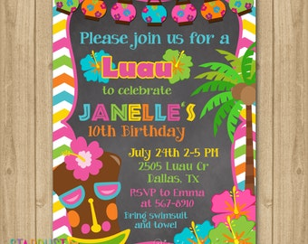 Luau Birthday Invitation Luau Party Invitation Luau