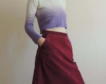 FREE SHIPPING - Vintage Handmade high waist Dark red corduroy skirt with pockets