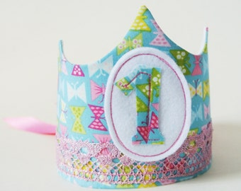 First Birthday Felt and fabric birthday crown with changeable numbers // photo prop crown