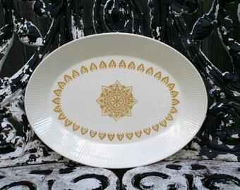 Vintage Mid Century Sheffield Serenade White and Gold Serving Platter