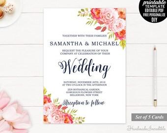 Pink Roses Wedding Invitation. Printable Wedding Invitation Template. Floral Wedding Invitation Set. Blush Pink Peony Download Editable PDF