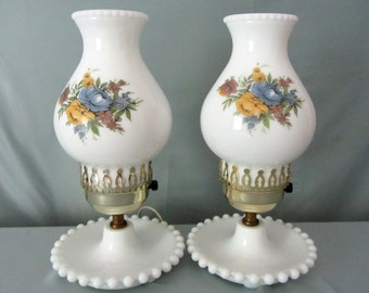 Mid Century White Milk Glass Floral Electric Lamps. Set of Two