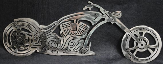 Custom Style Chopper, Biker, Metal Style Chopper, Metal Motorcylce, Metal Wall Art, Office Decor, Biker Bar Decor, Man Cave Decor, Gift
