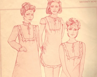 Raindrops & Roses 301  Maternity Nursing Nightgown Pattern 3 Lengths Pattern Womens Vintage Sewing Pattern Size 6 - 16 Bust 31 - 38 UNCUT