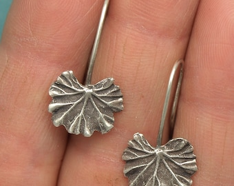 Geranium Leaf Earrings~Small Leaves~Oxidized Sterling Silver Geraniums~Hand Made Artist Jewelry~Gardener/Nature/Botanical Jewelry