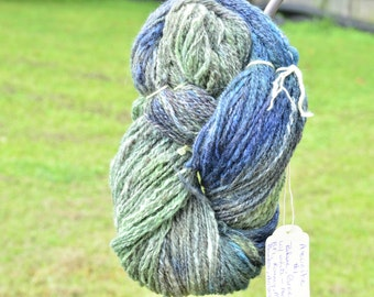Azurite Blue and Green Hand dued Hand spun 2 ply yarn