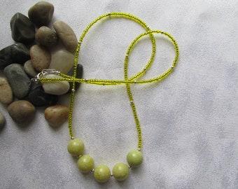 Peridot Jasper Seed Bead Necklace