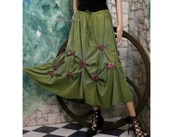 Violet Romantic Hand Dyed Linen Skirt with Roses Applications Artistic Lagenlook Design OOAK