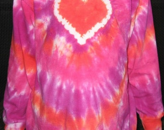ADULT LONG SLEEVED Heart Tie Dye Custom Colors - Great for Valentine's Day