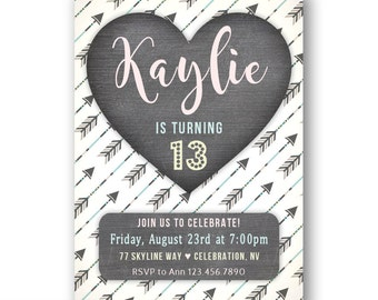 Boho 13th Birthday Invitations for Teen Girls / Bohemian Birthday Party Invites / Teen Birthday Invitation / 10th 11th 12th or Any Age