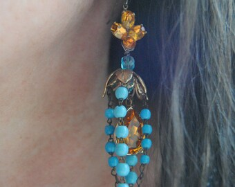 Turquoise Rosary Earrings---Vintage Glass Rosary Strands Amber Rhinestone Chandeliers
