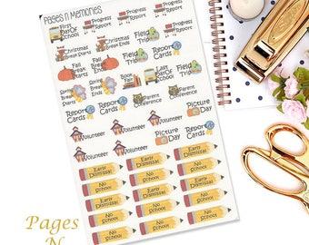 School Word Art Planner Stickers/ Functional Stickers/Erin Condren /Plum Paper/Happy Planner/ Reccollections  #156